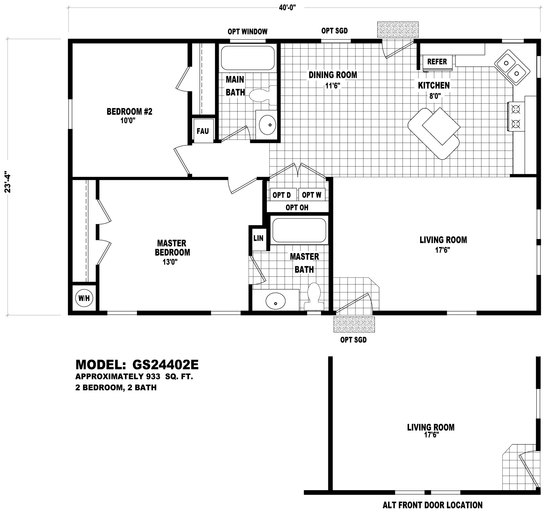 floor plan gs 24402e gs 20 amp 24 wides homes by cavco