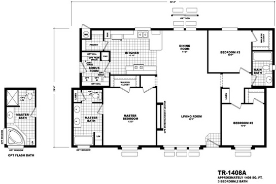 Floor plan tr 1994a territorial series homes by cavco for Territorial home design