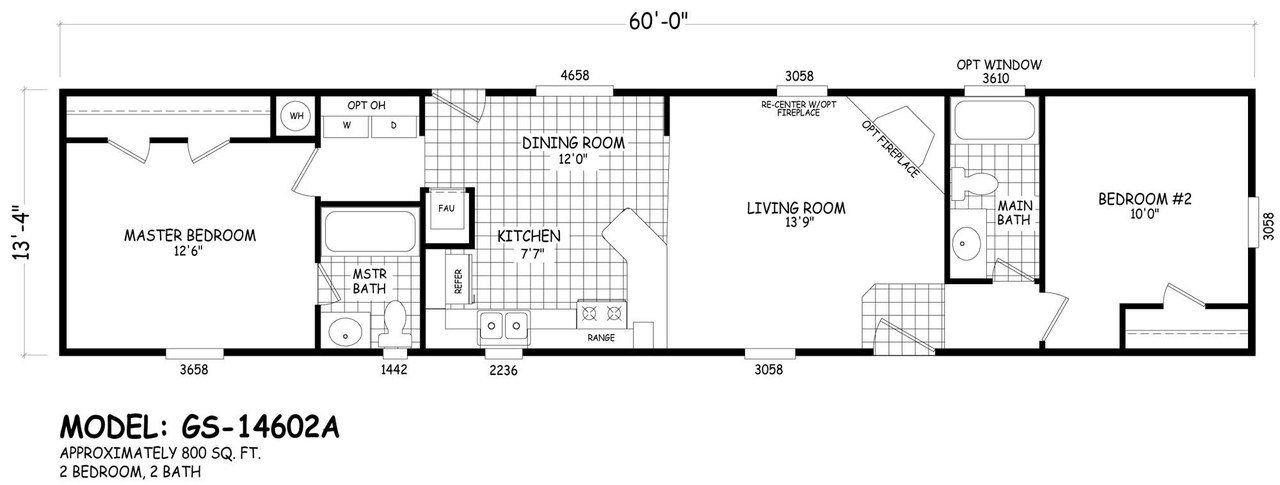 Floor Plan GS-14602A | GS Single-Section | Homes By Cavco West ... on 1 bedroom trailer floor plans, 3 bdrm 2 bath modular farmhouse floor plans, 1 bedroom house floor plans, 3 bedroom 2 bathroom home floor plans, 16x70 3-bedroom modular home plans, 18 foot single wide floor plans, 2 bedroom single level floor plans, solitaire single wide floor plans, single wide trailer floor plans, 2 bedroom vacation home floor plans, small modular homes floor plans,