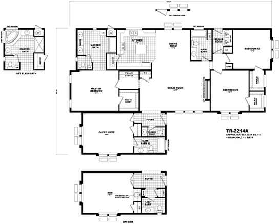 Floor plan tr 2214a territorial series homes by cavco for Territorial home design