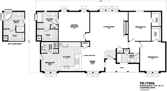 Floor plan tr 1573a territorial series homes by cavco for Territorial home design