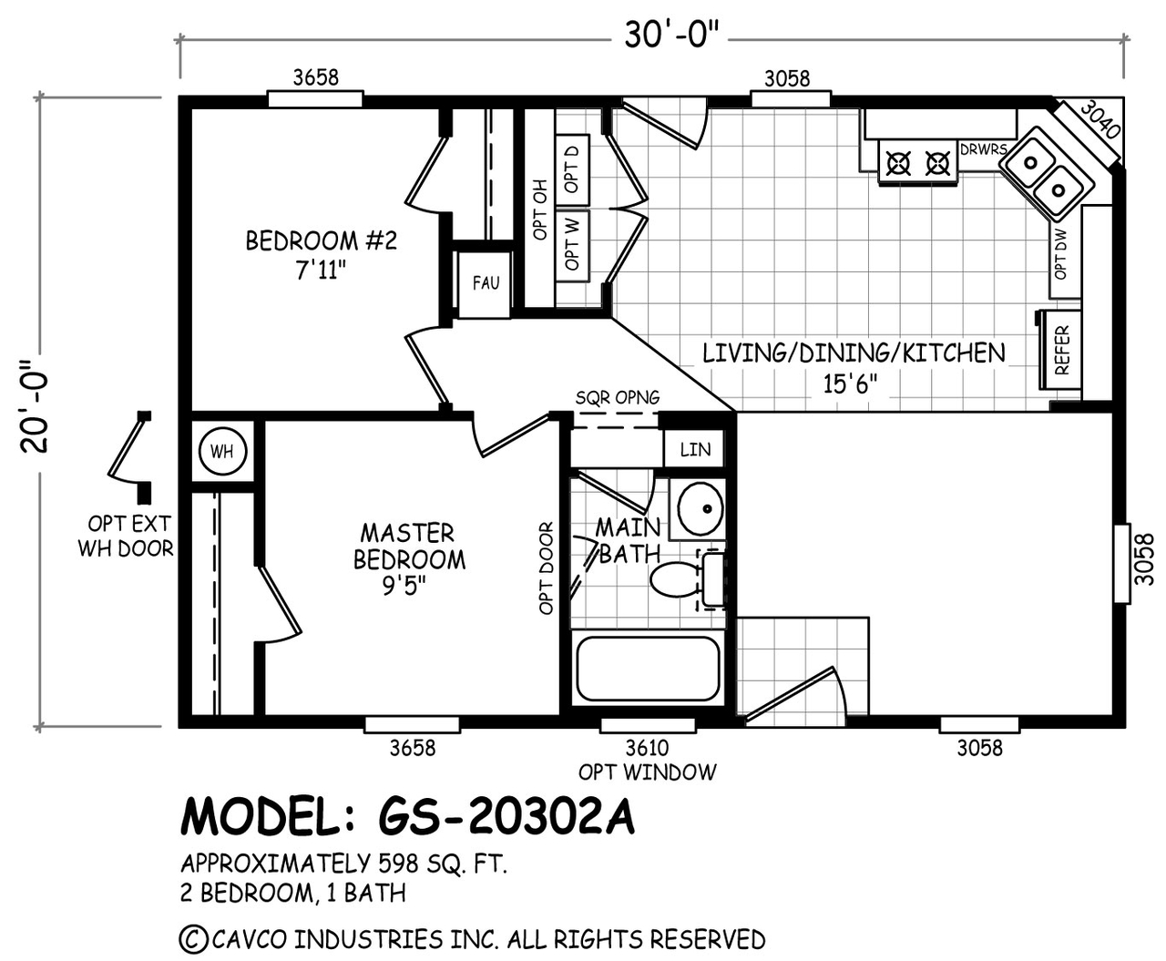Floor Plan GS-20302A | GS 20 & 24 Wides | Homes By Cavco West