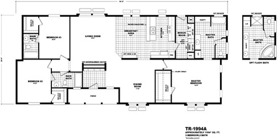 Floor plan tr 1994a territorial series homes by cavco for Territorial house plans